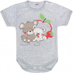 Dětské body s krátkým rukávem New Baby Myšky s jahůdkou šedé