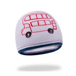 Bavlněná čepička YO ! School bus - šedo/granátová