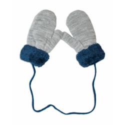Zimní kojenecké rukavičky s kožíškem - se šňůrkou YO - šedé/granátový kožíšek