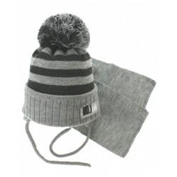 Zimní pletená čepička s šálou No.1 Team - proužky šedá/grafit