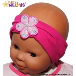 Čelenka Baby Nellys ® s květinkou - malinová
