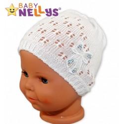 Háčkovaná čepička Mašle Baby Nellys ® - s flitry - bílá