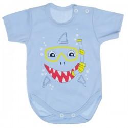 Bavlněné body MBaby, krátký rukáv, sv. modré - Žralok