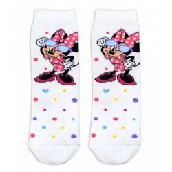 Bavlněné ponožky Disney Minnie s brýlemi - bílé