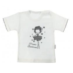 Bavlněné tričko Mamatti Baletka krátký rukáv - smetanové