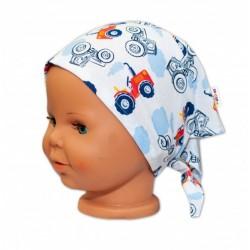 Baby Nellys Dětský šátek na zavazování Traktor - bílý