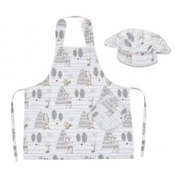 Kuchařská sada Junior MasterChef - zástěra + čepice + rukavice, béžová - zvířátka v lese