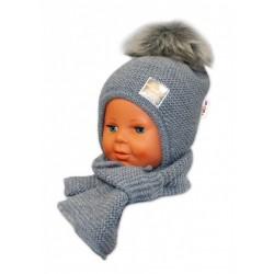 BABY NELLYS Zimní čepička s šálou - chlupáčková bambulka - tm. šedá/šedá