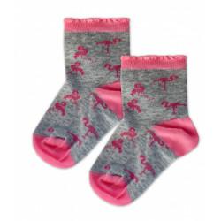 Baby Nellys Bavlněné ponožky Plameňáci - šedo/růžové