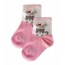 Baby Nellys Bavlněné ponožky I love cats - růžovo/bílé