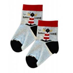 Baby Nellys Bavlněné ponožky Maják - červeno/černo/modrý melírek