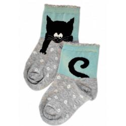 Baby Nellys Bavlněné ponožky Kocour - šedo/mátové
