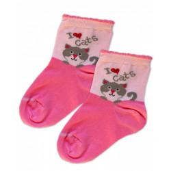Baby Nellys Bavlněné ponožky I love cats - růžovo/sv. růžové