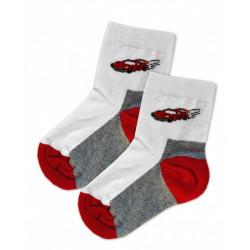 Baby Nellys Bavlněné ponožky Závoďák - červeno/bílé, vel. 17-18cm