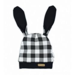 NICOL Kojenecká čepice Bunny kárko - černobílá