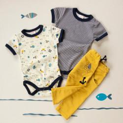 K-Baby 3 dílná sada - 2x body kr. rukáv, tepláčky - námořník