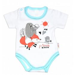 Baby Nellys Bavlněné kojenecké body, kr. rukáv, Fox - bílé