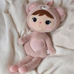 Hadrová panenka Metoo Medvídek, 46 cm - růžová