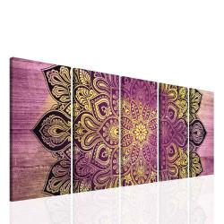 InSmile Obraz fialová mandala na dřevě 150x60