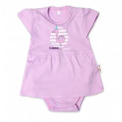 Baby Nellys Bavlněné kojenecké sukničkobody, kr. rukáv, Flamingo - lila