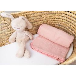 Baby Nellys Luxusní jednovrstvá mušelínová dětská deka, 75 x 100 cm, pudrová, meruňková