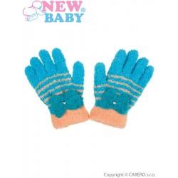 Dětské zimní froté rukavičky New Baby modro-oranžové