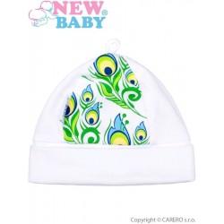 Kojenecká bavlněná čepička New Baby z Luxusní kolekce Páv