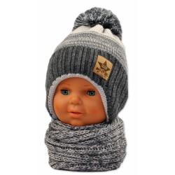 BABY NELLYS Zimní čepička s komínkem - sv. šedá/grafit