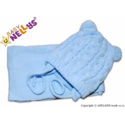 BABY NELLYS Zimní pletená čepička s šálou Mimi Bear - modrá s bambulkami