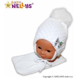 BABY NELLYS Zimní čepice/čepička Mašlička - bílá