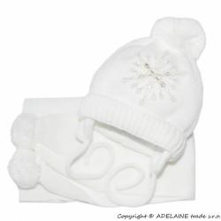 BABY NELLYS Zimní čepička s šálou - Sněhová vločka v bílé