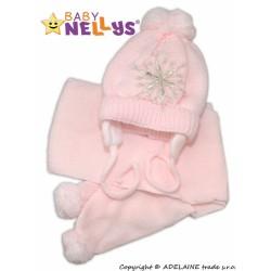 BABY NELLYS Zimní čepička s šálou - Sněhová vločka v růžové