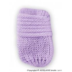 Zimní pletené kojenecké rukavičky - lila