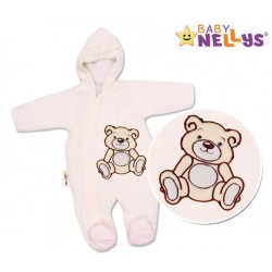 BABY NELLYS Kombinézka/overálek Teddy Bear -smetanová