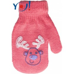 YO ! Kojenecké dívčí akrylové rukavičky YO - lososově/červená