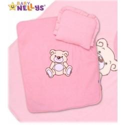 Baby Nellys 2-dílná sada do kočárku jersey Medvídek Teddy Bear - růžová