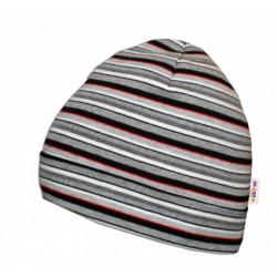 Bavlněná čepička Baby Nellys ® - Proužky bílo, šedé, červené