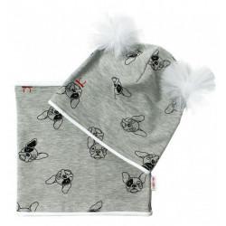 Bavlněná sada čepička s tutu a nákrčník Pejsci - šedá, bílá,ekri, vel. 5-10let