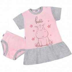 Letní noční košilka s kalhotkami New Baby Hello s hrošíkem růžovo-šedá