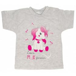 Bavlněné tričko - Pony - šedé